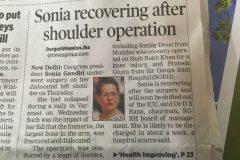 Sonia Gandhi operation done by Dr. Prateek Gupta newspaper article